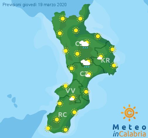 Previsioni Meteo Calabria 19-03-2020