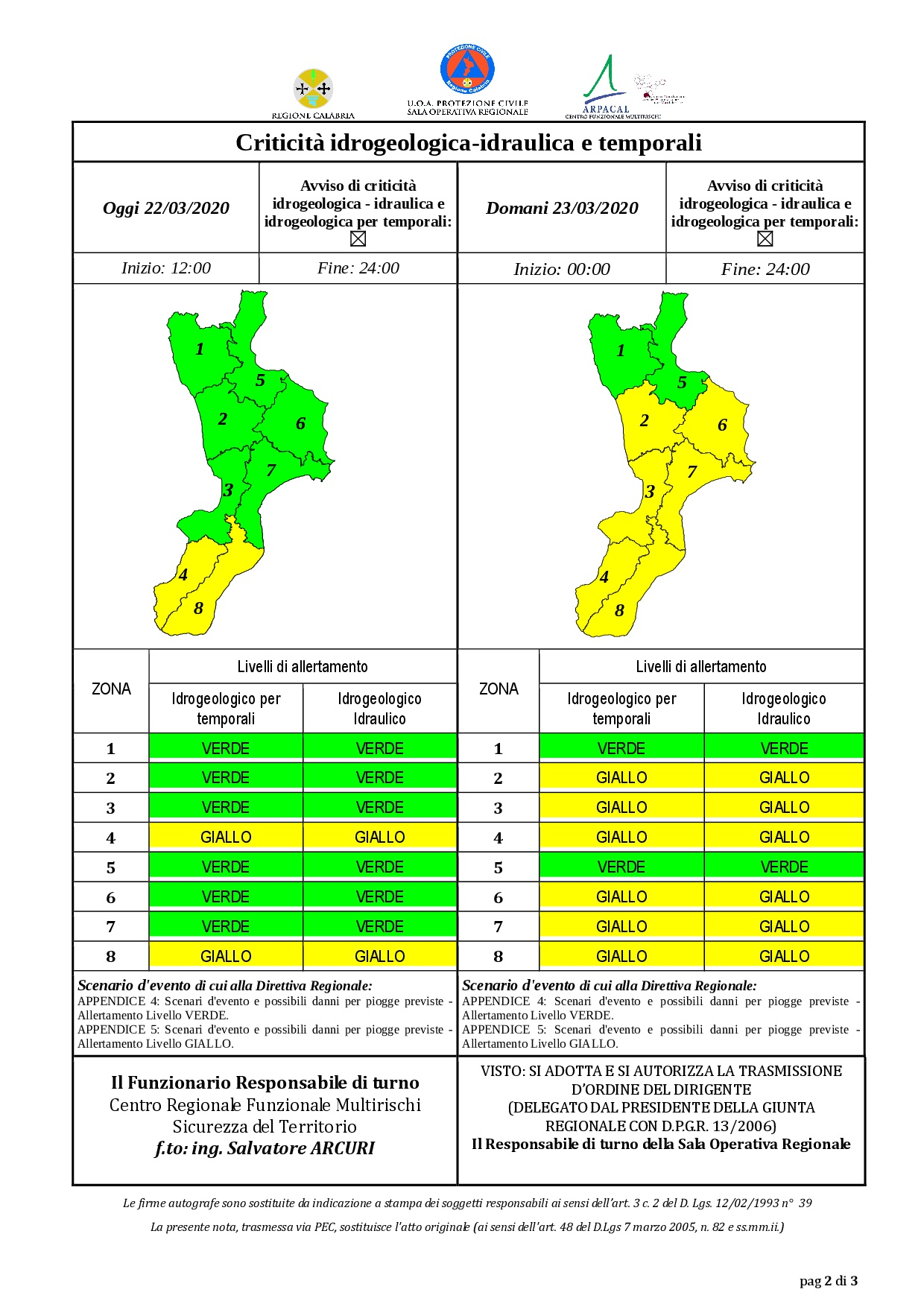 Criticità idrogeologica-idraulica e temporali in Calabria 22-03-2020