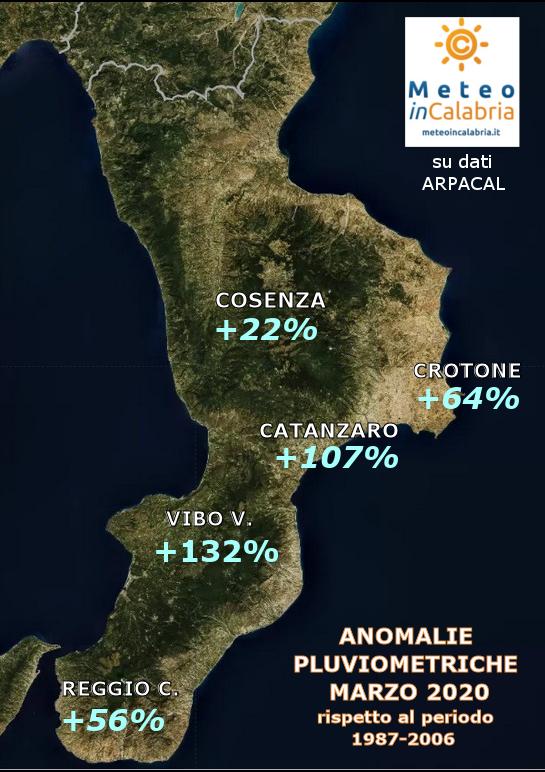 MAPPA ANOMALIE PIOGGE CALABRIA MARZO 2020