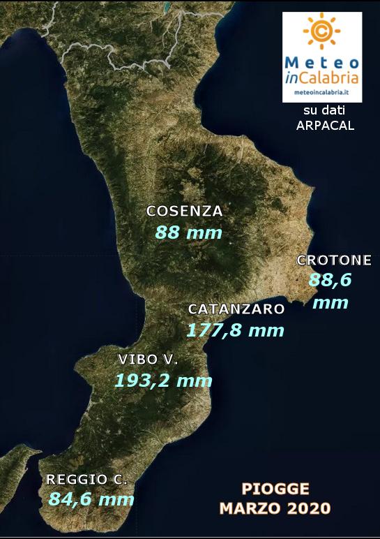 MAPPA PIOGGE CALABRIA MARZO 2020