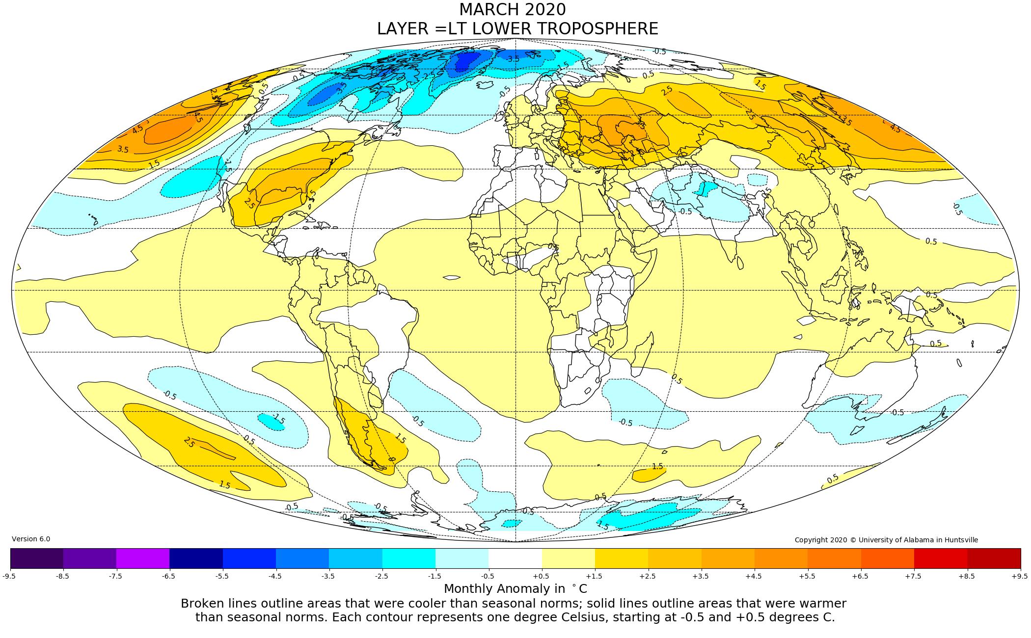 Mappa globale anomalie temperature da sateMappa globale anomalie temperature da satellite marzo 2020llite marzo 2020