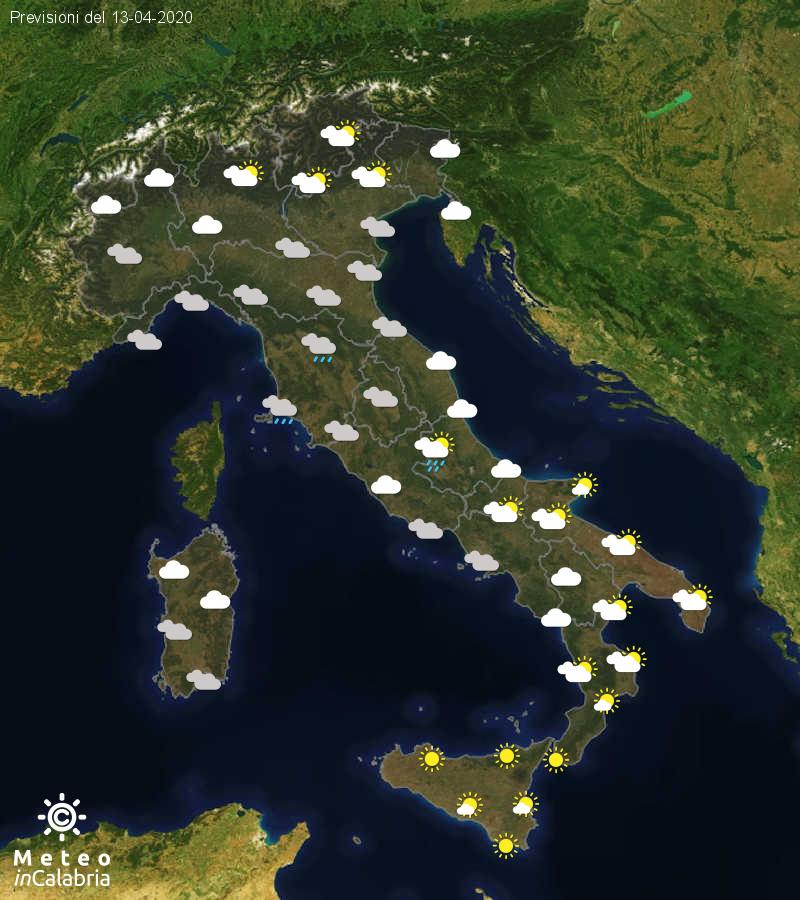 Previsioni del tempo in Italia per il giorno 13/04/2020