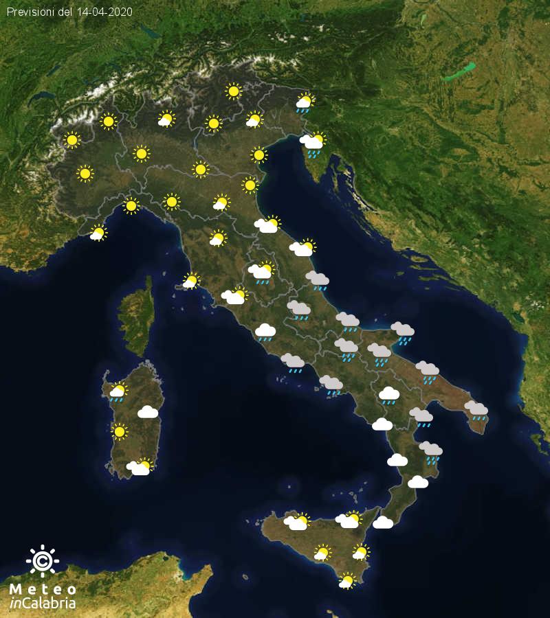 Previsioni del tempo in Italia per il giorno 14/04/2020