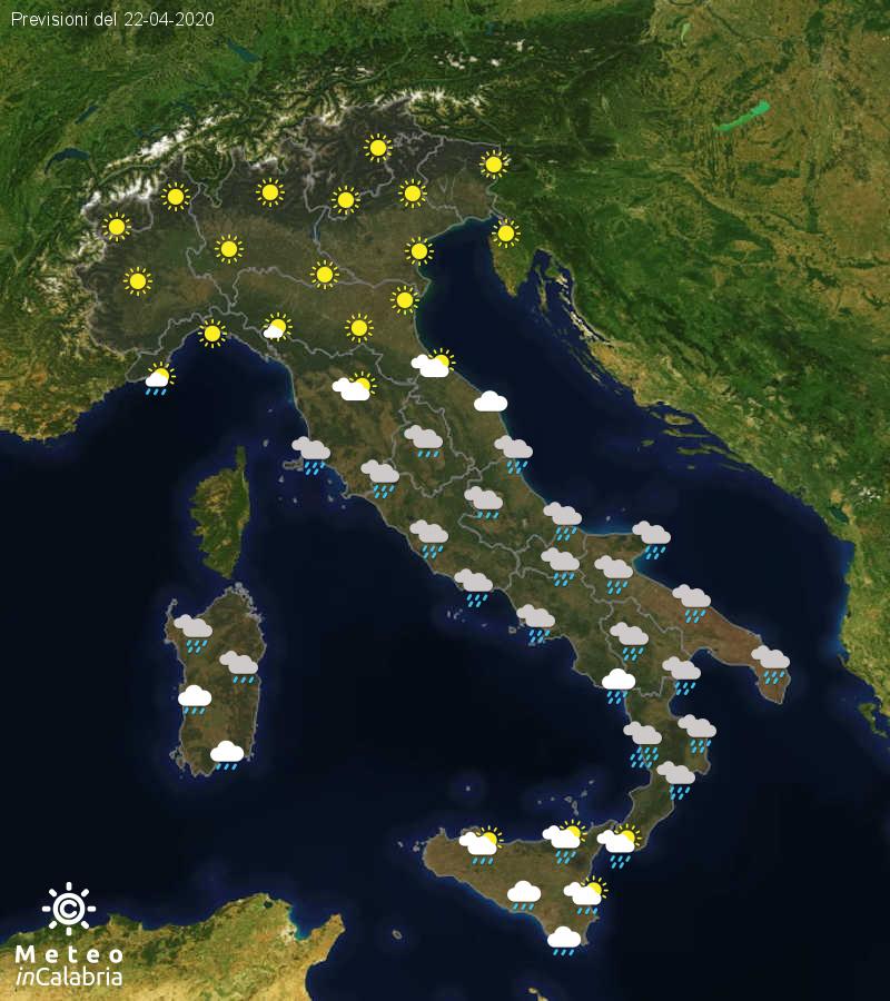 Previsioni del tempo in Italia per il giorno 22/04/2020