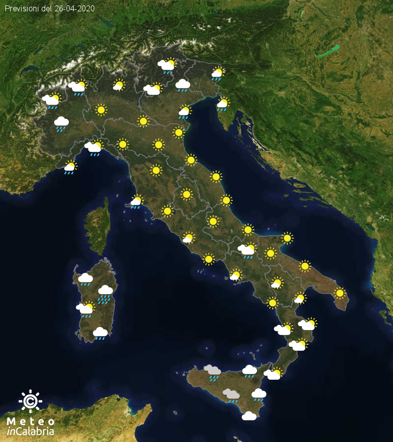Previsioni del tempo in Italia per il giorno 26/04/2020