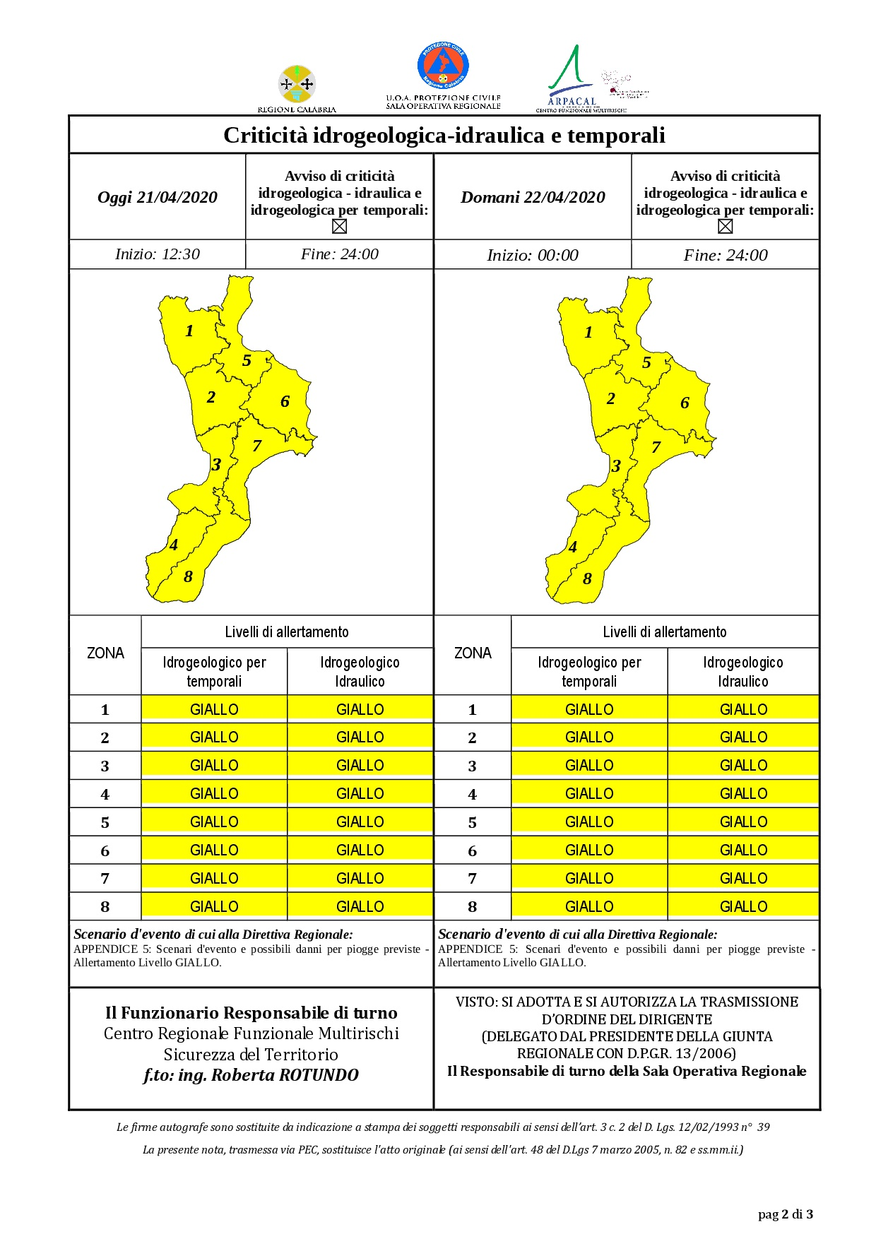 Criticità idrogeologica-idraulica e temporali in Calabria 21-04-2020