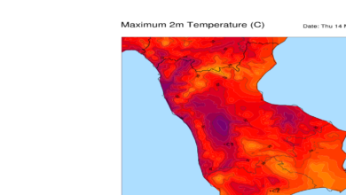 Mappa temperature massime calabria 14 maggio 2020
