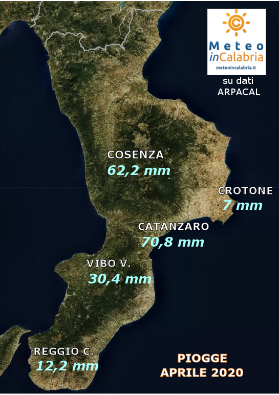 MAPPA PIOGGE CALABRIA APRILE 2020
