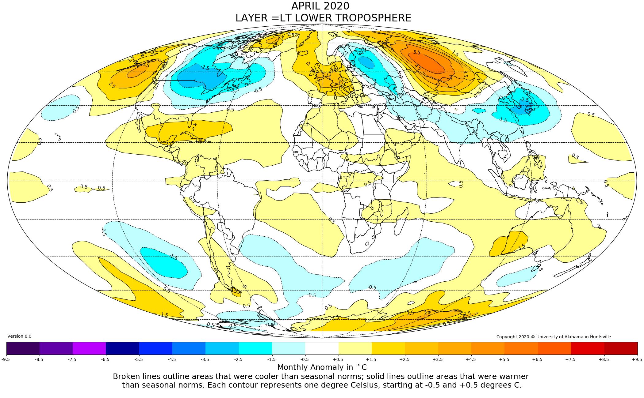 Mappa anomalie temperature globali da satellite
