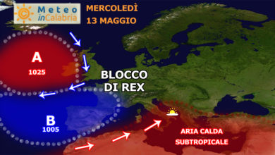 mappa sinottica europa blocco rex 13 maggio 2020 aria calda africana