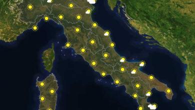 Previsioni del tempo in Italia per il giorno 25/05/2020