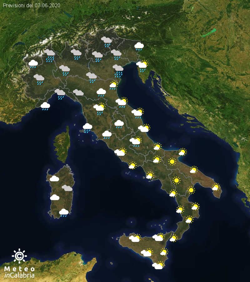 Previsioni del tempo in Italia per il giorno 07/06/2020