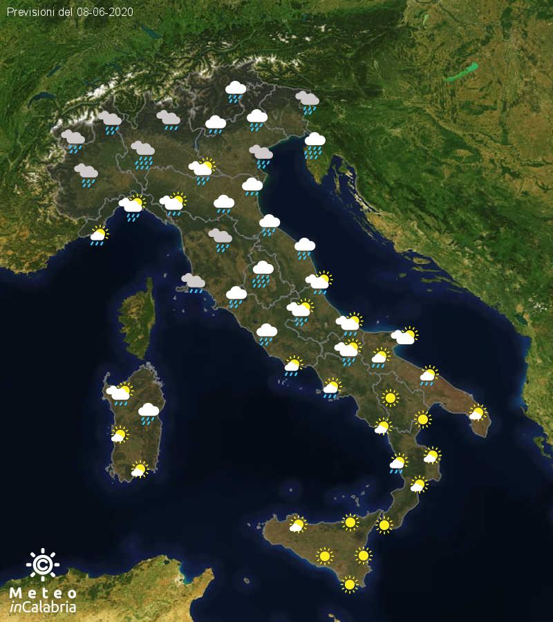 Previsioni del tempo in Italia per il giorno 08/06/2020