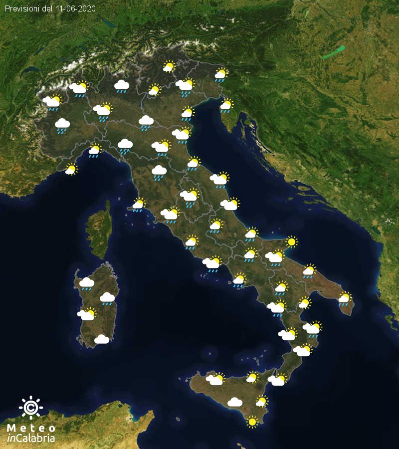 Previsioni del tempo in Italia per il giorno 11/06/2020