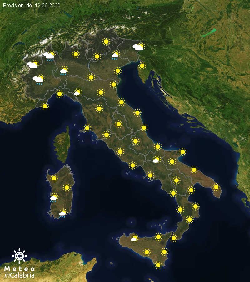 Previsioni del tempo in Italia per il giorno 12/06/2020