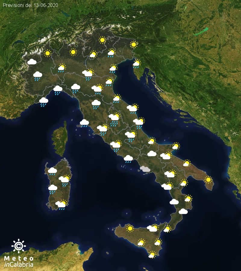 Previsioni del tempo in Italia per il giorno 13/06/2020