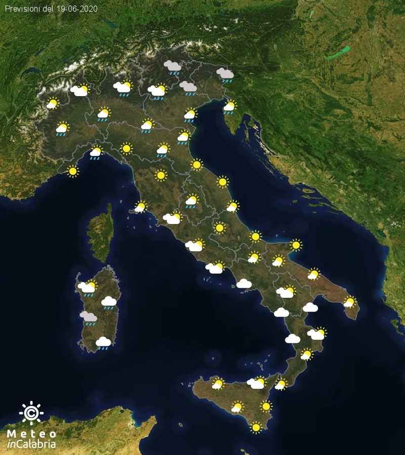 Previsioni del tempo in Italia per il giorno 19/06/2020