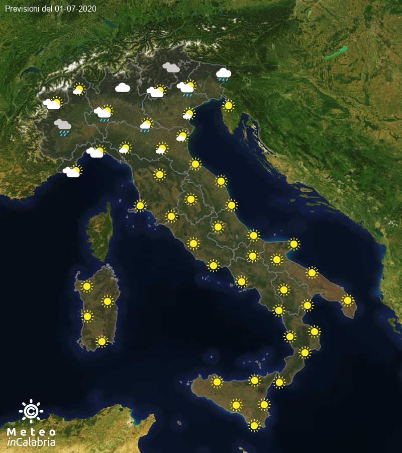 Previsioni del tempo in Italia per il giorno 01/07/2020