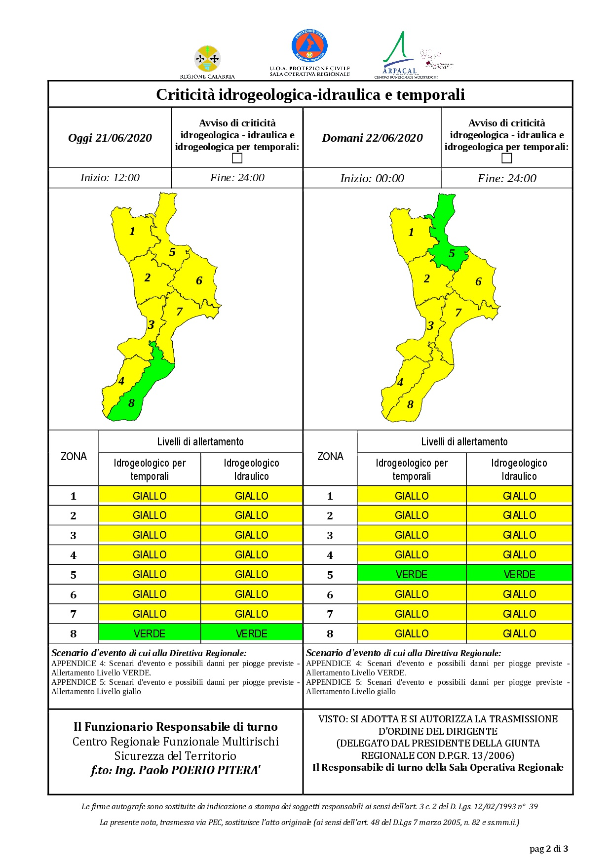 Criticità idrogeologica-idraulica e temporali in Calabria 21-06-2020