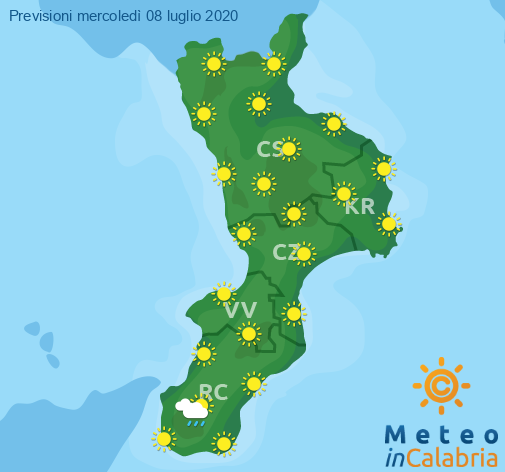 Previsioni Meteo Calabria 08-07-2020
