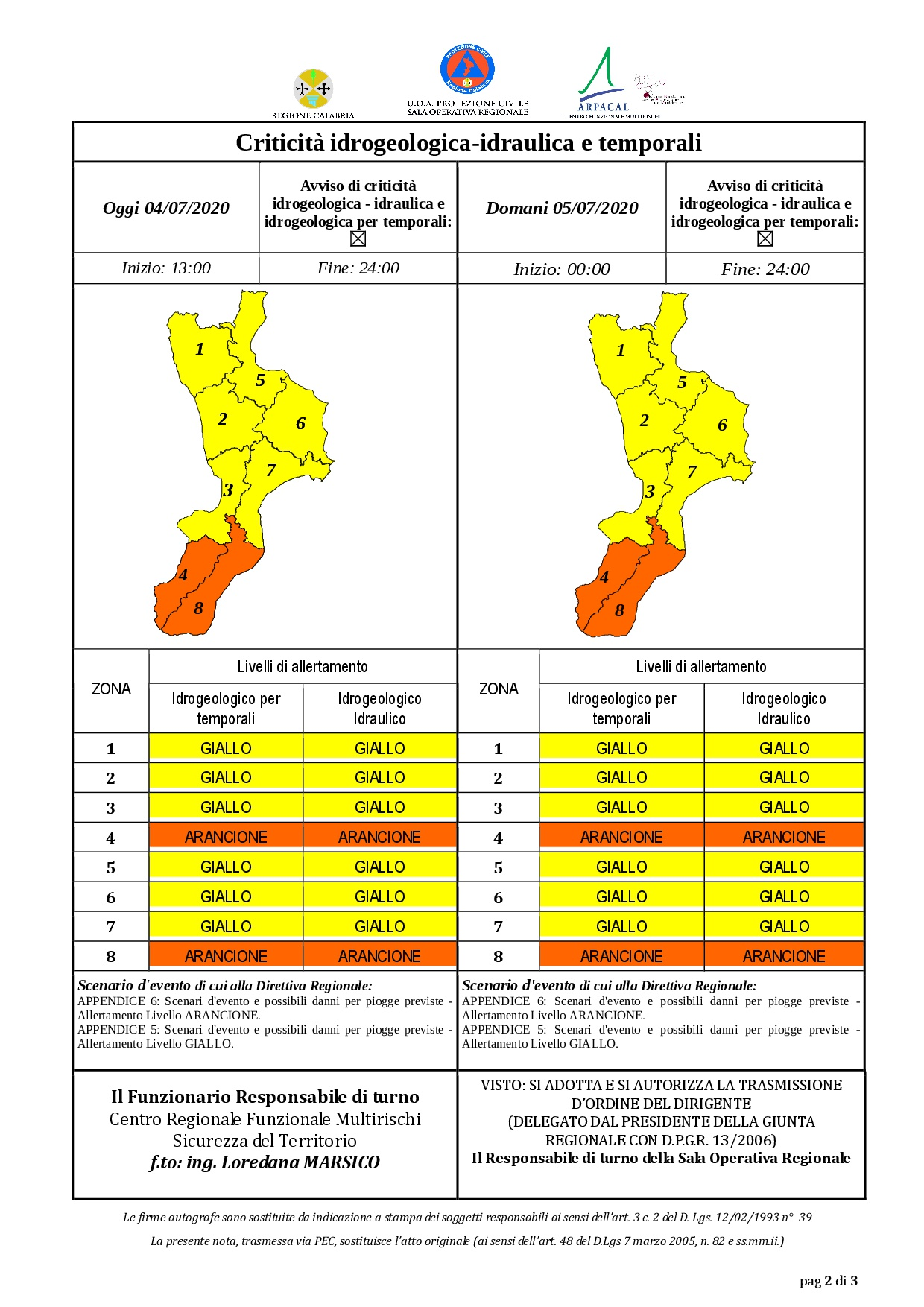 Criticità idrogeologica-idraulica e temporali in Calabria 04-07-2020