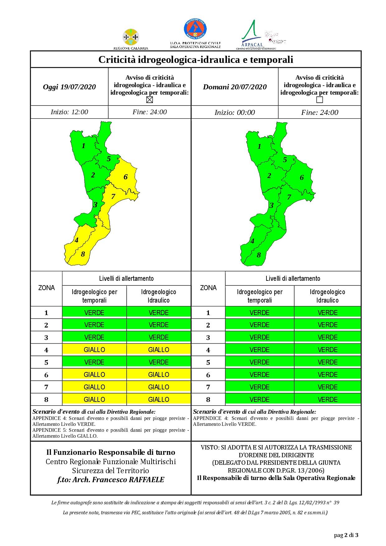 Criticità idrogeologica-idraulica e temporali in Calabria 19-07-2020