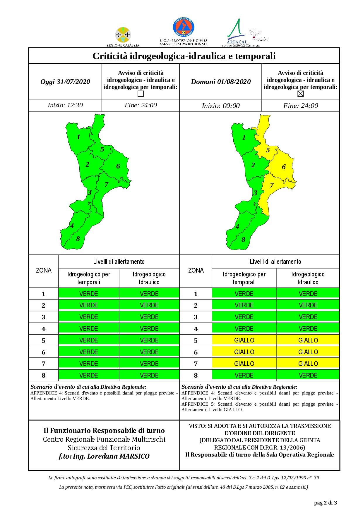 Criticità idrogeologica-idraulica e temporali in Calabria 31-07-2020
