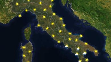 Previsioni del tempo in Italia per il giorno 09/08/2020
