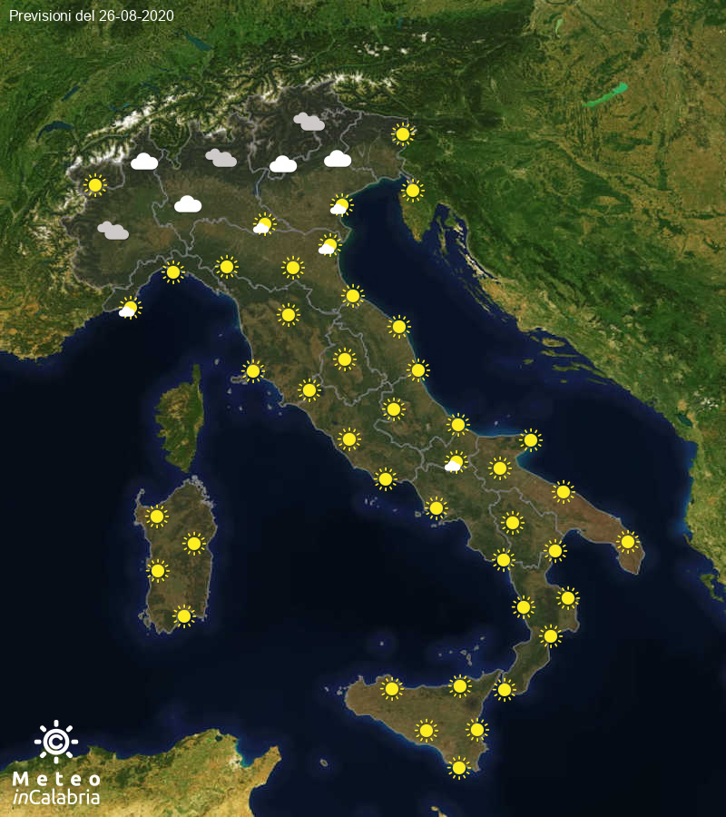 Previsioni del tempo in Italia per il giorno 26/08/2020