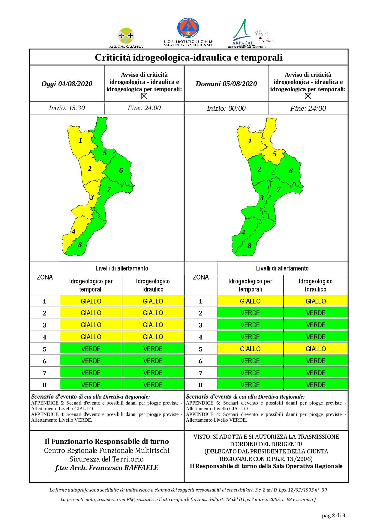 Criticità idrogeologica-idraulica e temporali in Calabria 04-08-2020