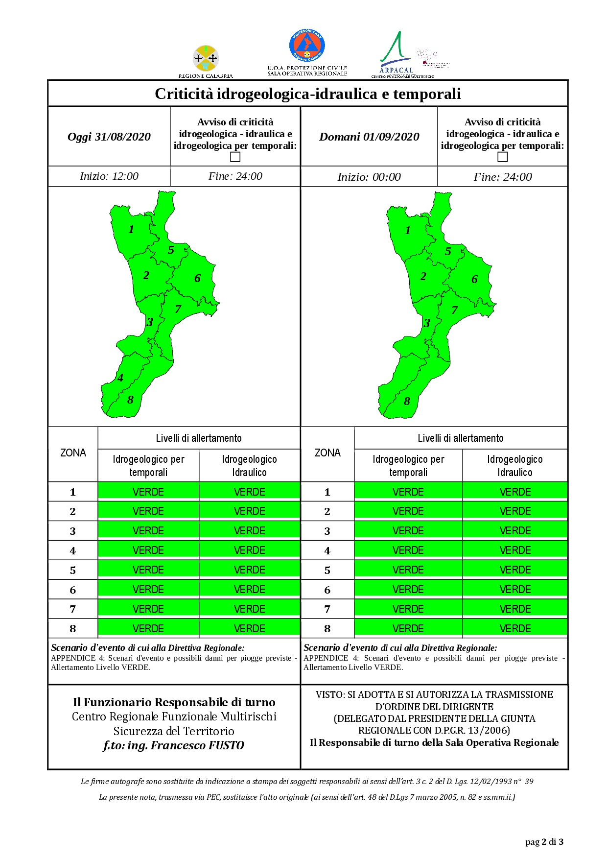 Criticità idrogeologica-idraulica e temporali in Calabria 31-08-2020