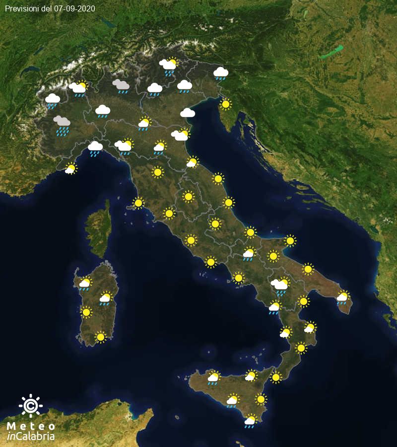 Previsioni del tempo in Italia per il giorno 07/09/2020