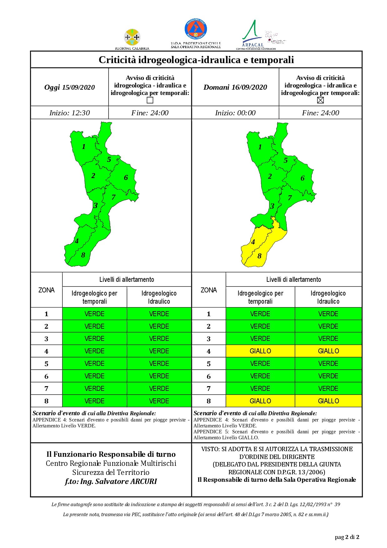 Criticità idrogeologica-idraulica e temporali in Calabria 15-09-2020