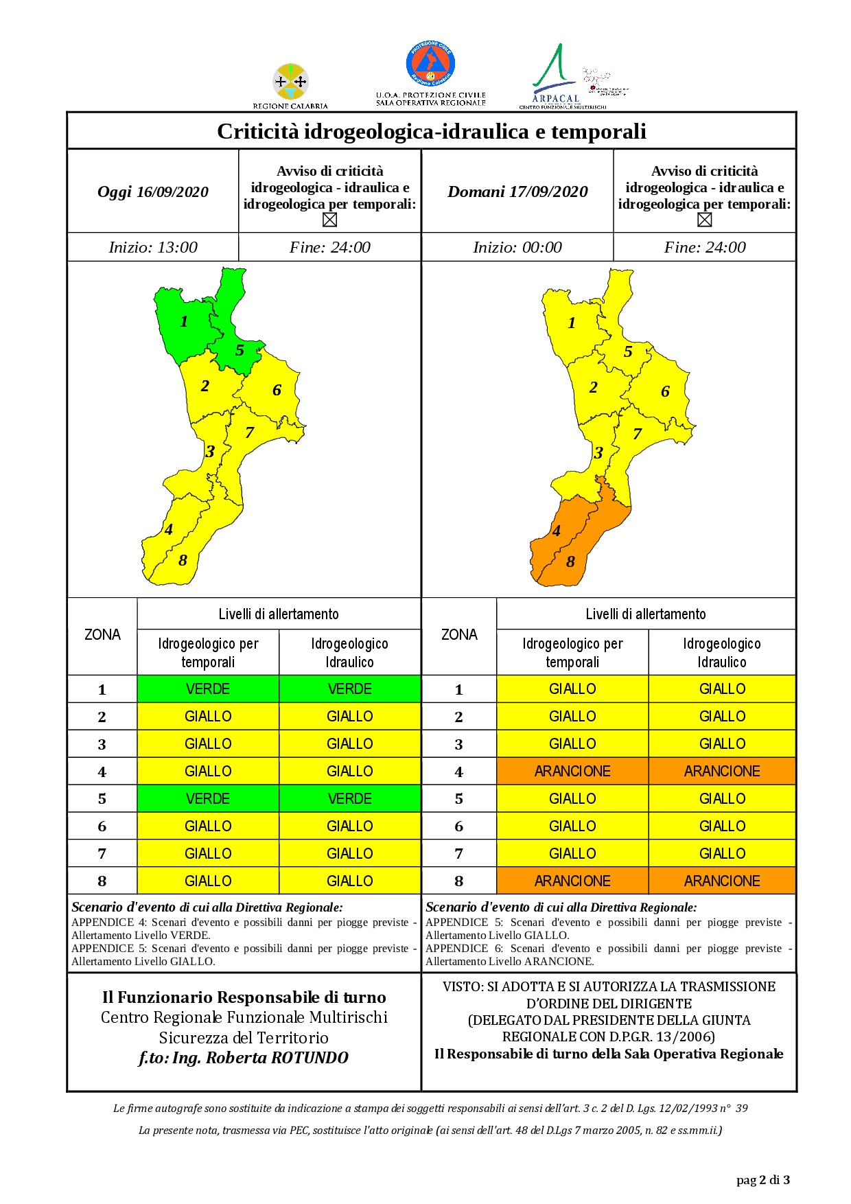 Criticità idrogeologica-idraulica e temporali in Calabria 16-09-2020