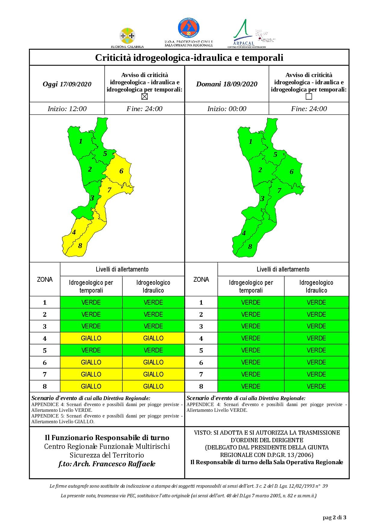 Criticità idrogeologica-idraulica e temporali in Calabria 17-09-2020