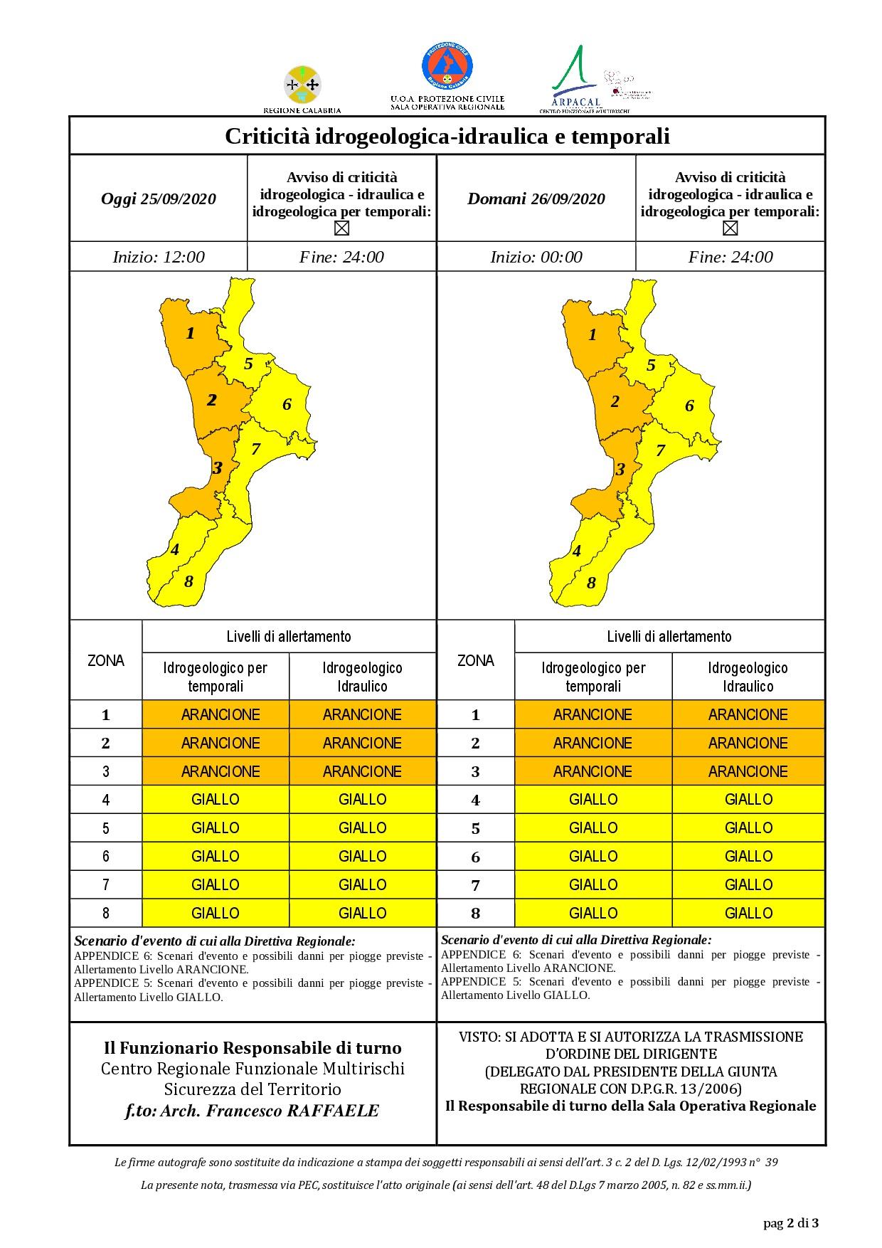 Criticità idrogeologica-idraulica e temporali in Calabria 25-09-2020
