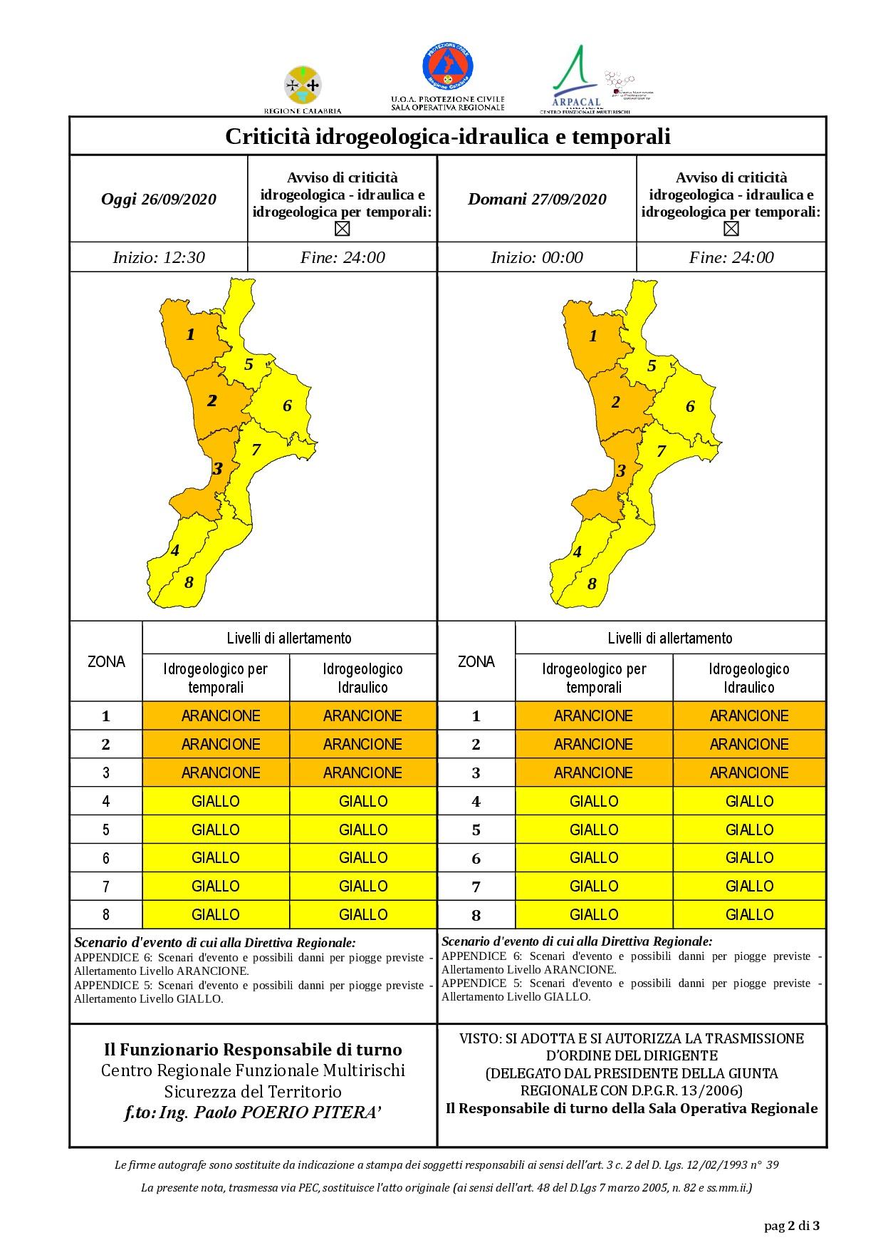 Criticità idrogeologica-idraulica e temporali in Calabria 26-09-2020