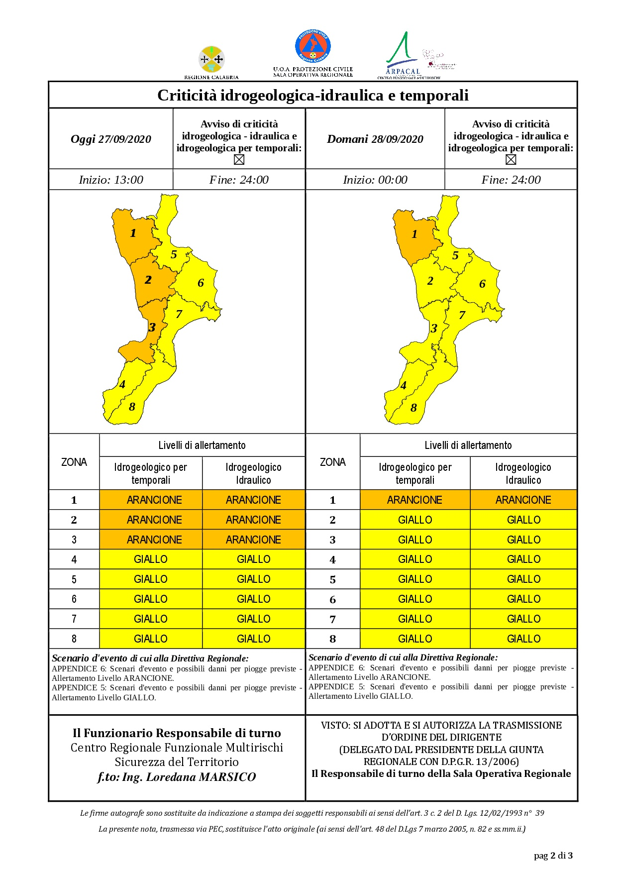 Criticità idrogeologica-idraulica e temporali in Calabria 27-09-2020