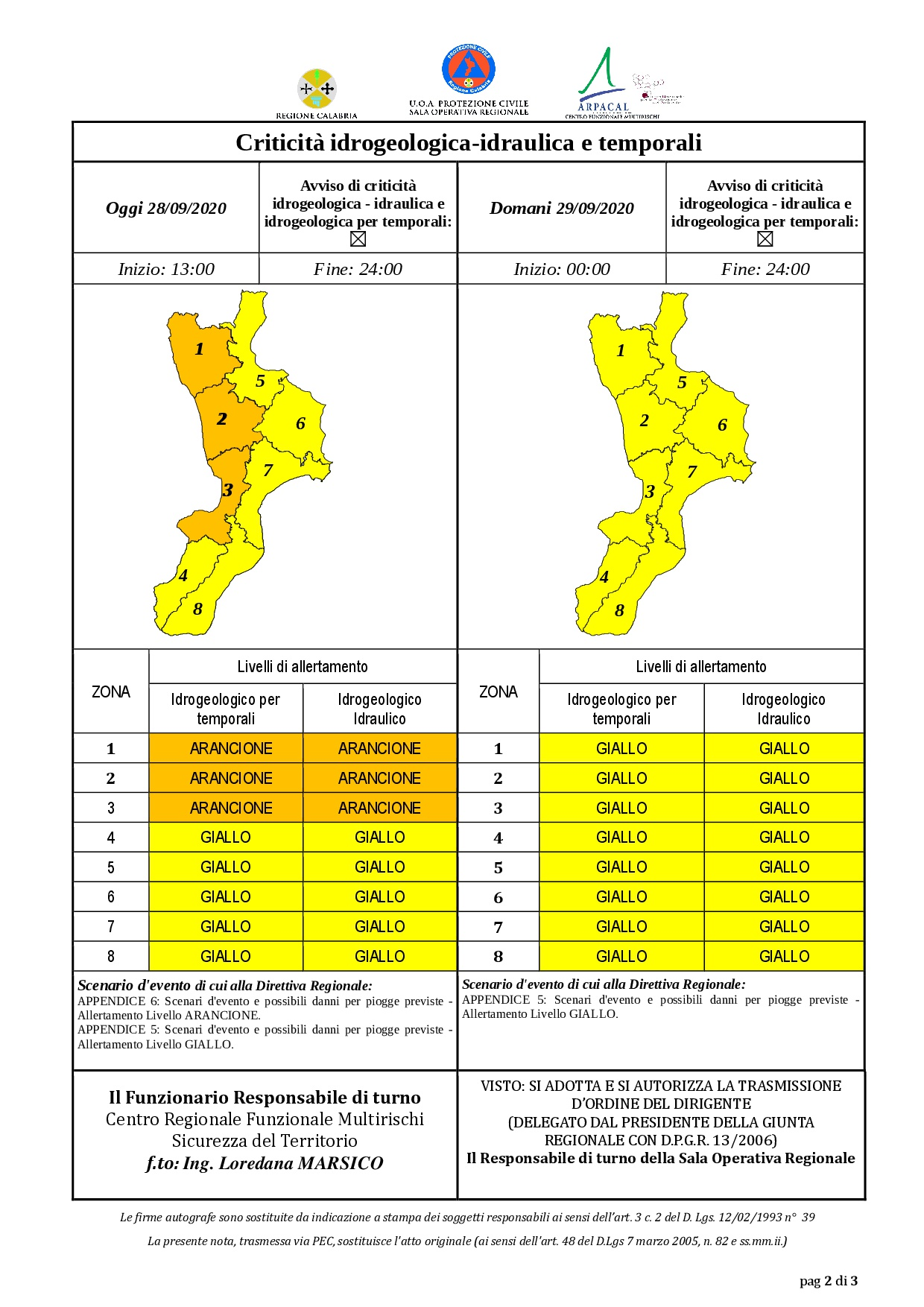 Criticità idrogeologica-idraulica e temporali in Calabria 28-09-2020