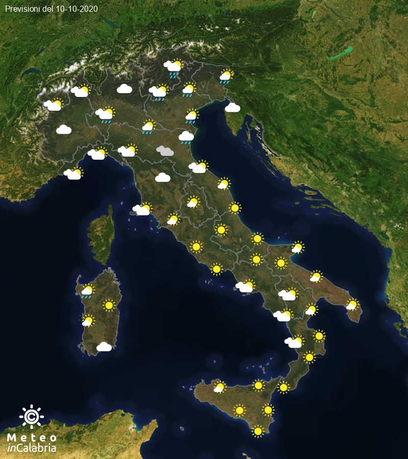 Previsioni del tempo in Italia per il giorno 10/10/2020