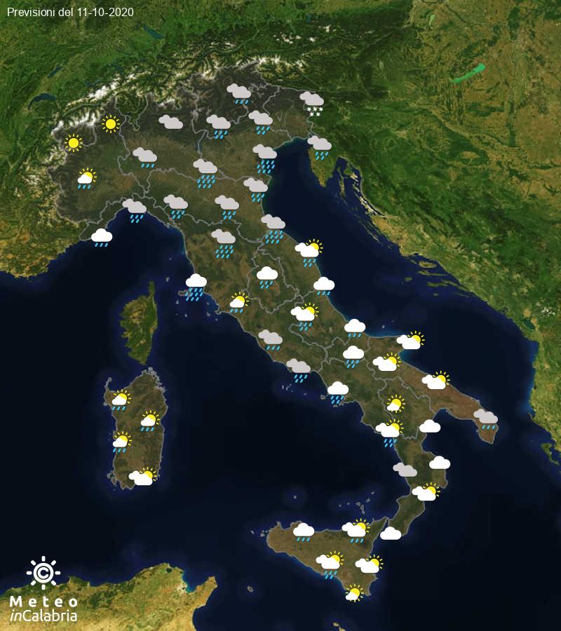 Previsioni del tempo in Italia per il giorno 11/10/2020