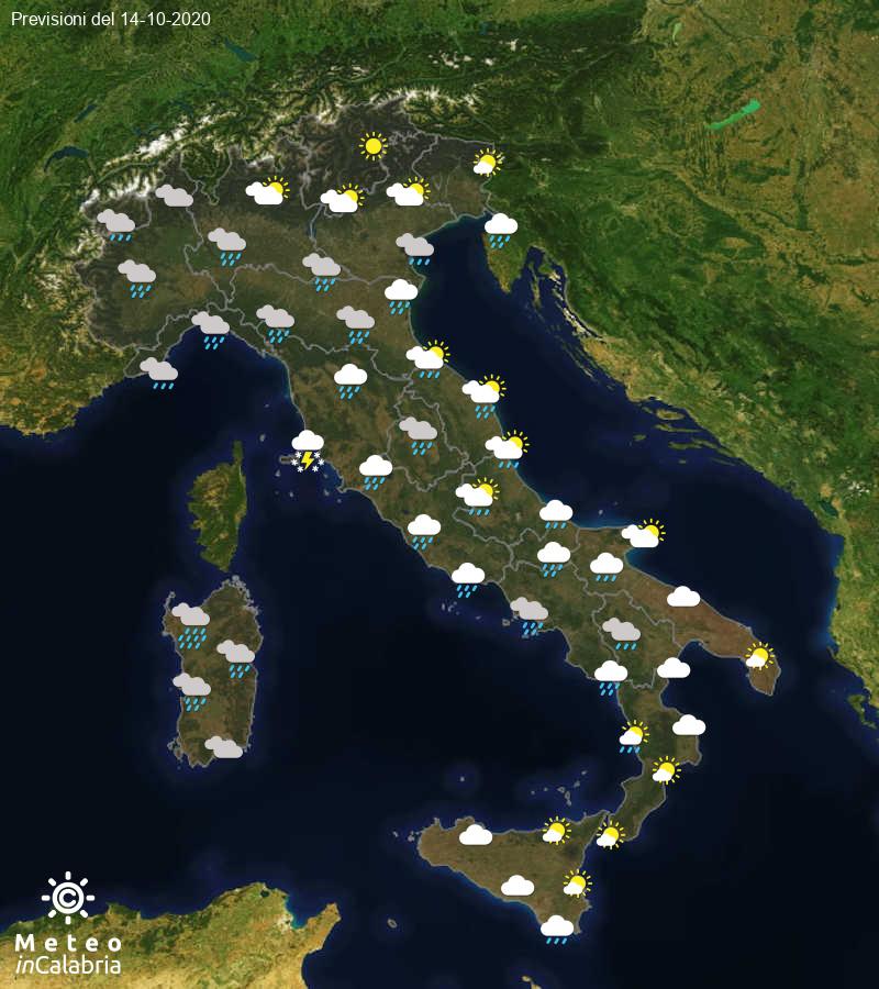 Previsioni del tempo in Italia per il giorno 14/10/2020