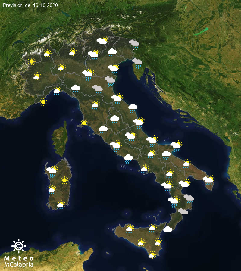 Previsioni del tempo in Italia per il giorno 16/10/2020