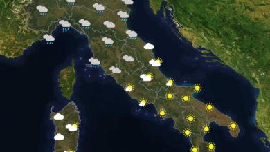 Previsioni del tempo in Italia per il giorno 23/10/2020