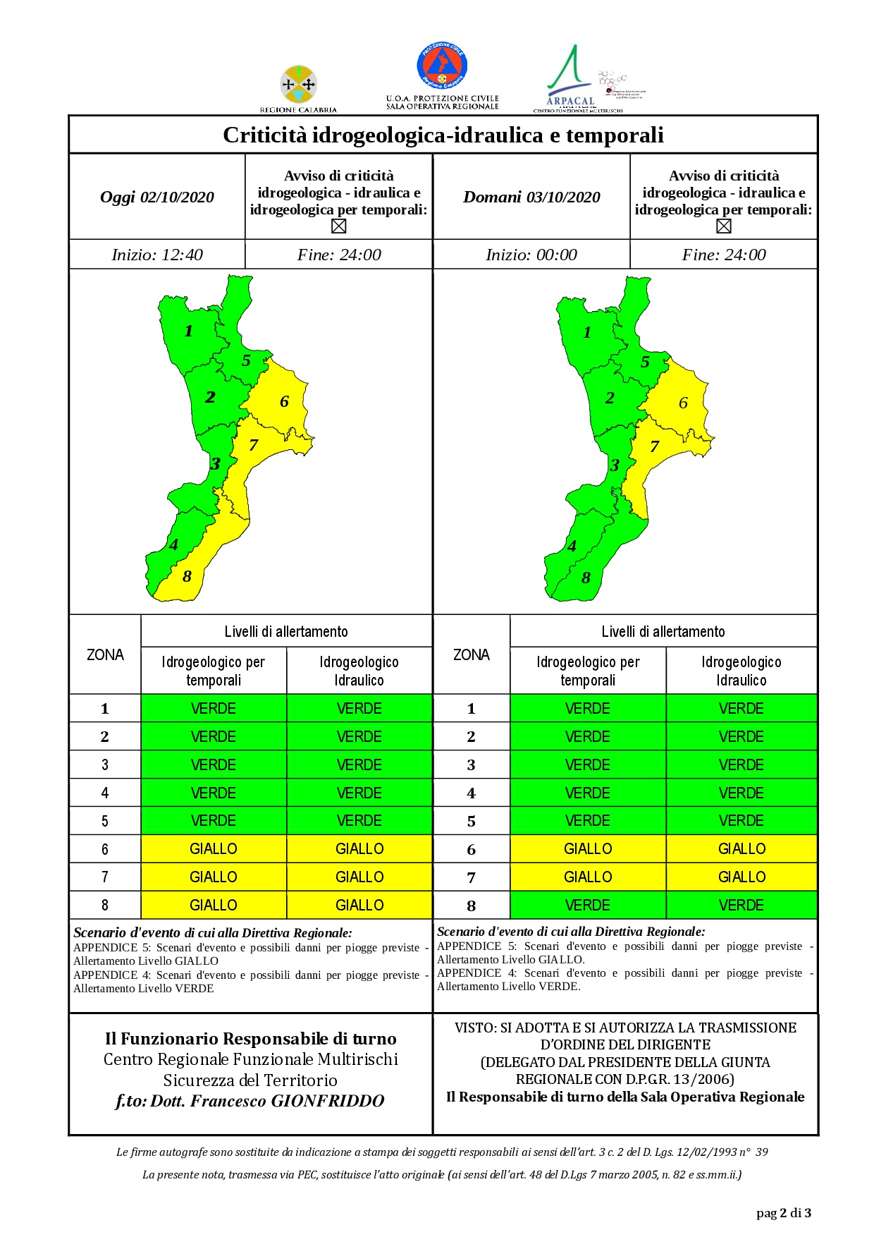 Criticità idrogeologica-idraulica e temporali in Calabria 02-10-2020