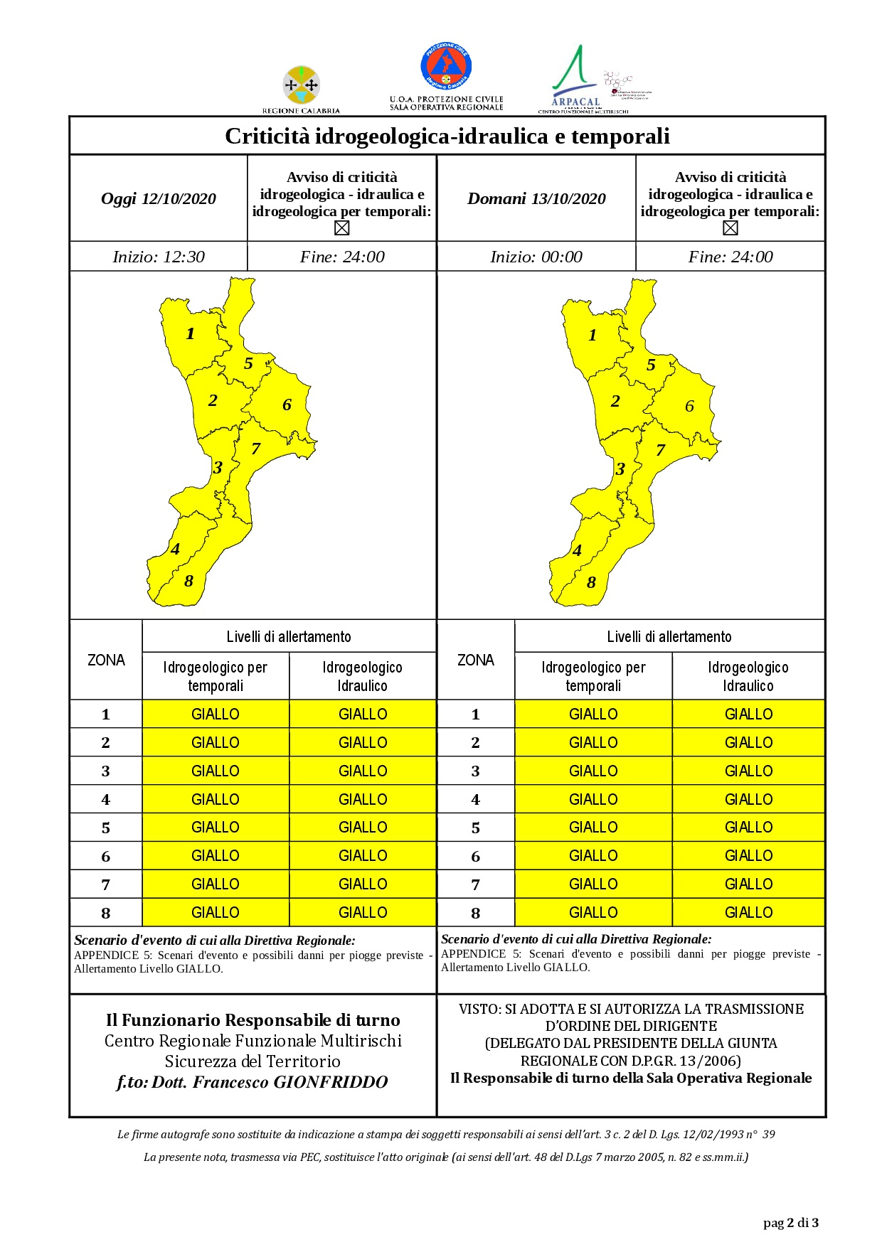 Criticità idrogeologica-idraulica e temporali in Calabria 12-10-2020