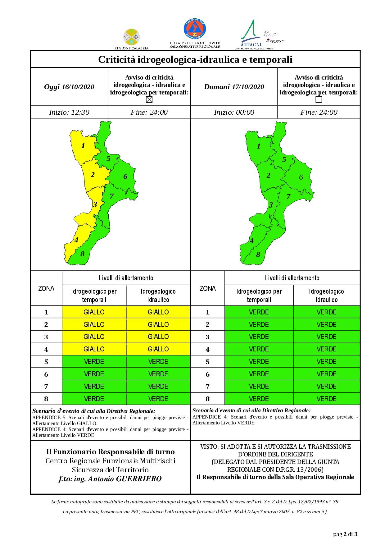 Criticità idrogeologica-idraulica e temporali in Calabria 16-10-2020