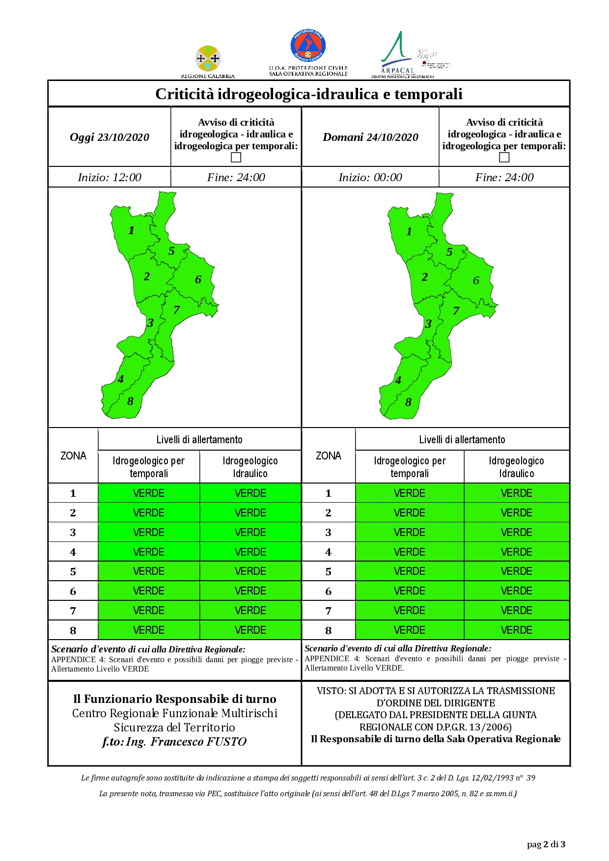 Criticità idrogeologica-idraulica e temporali in Calabria 23-10-2020