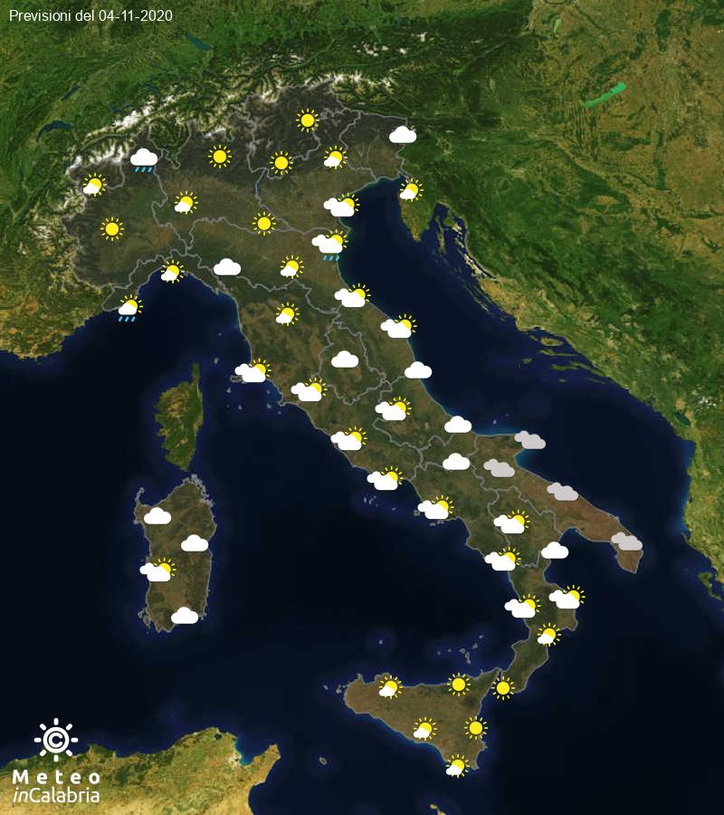 Previsioni del tempo in Italia per il giorno 04/11/2020