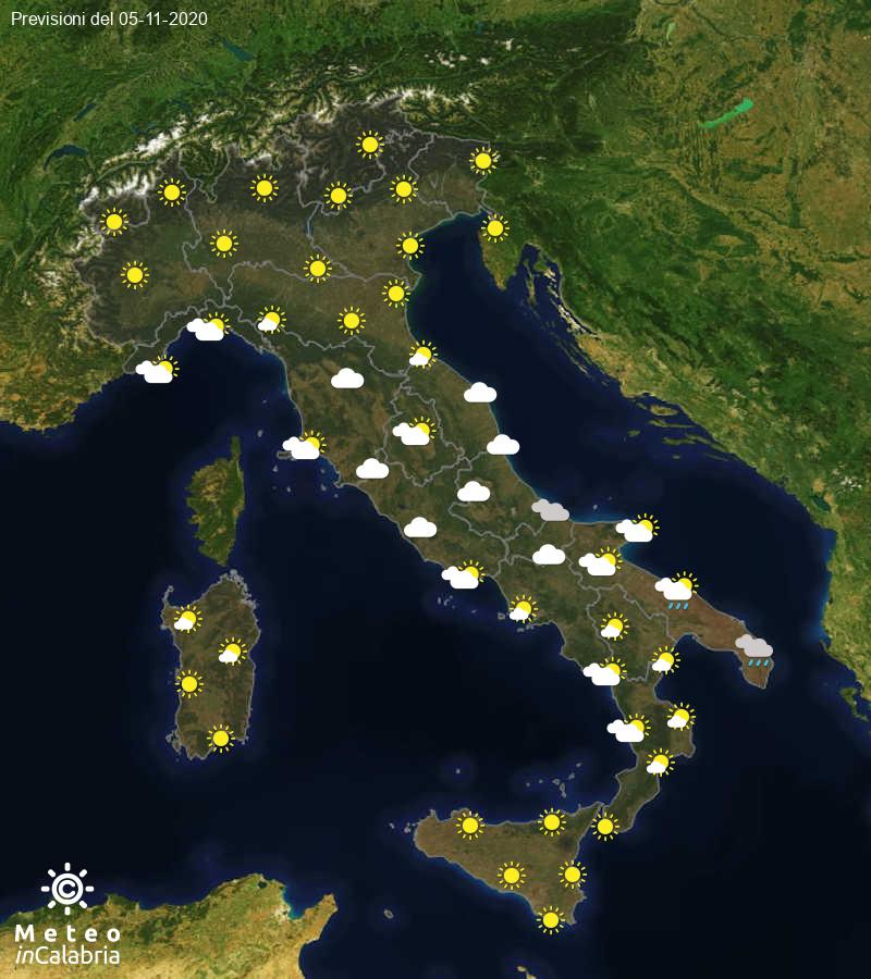 Previsioni del tempo in Italia per il giorno 05/11/2020